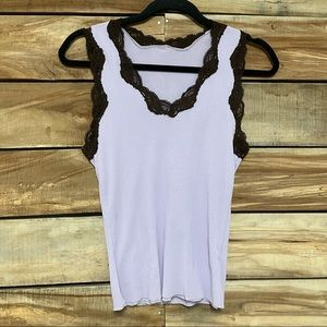 Only hearts purple brown lace tank top M/L